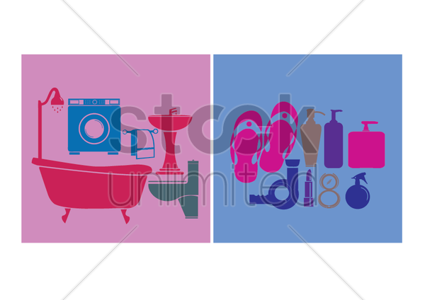 household objects and toiletries vector graphic
