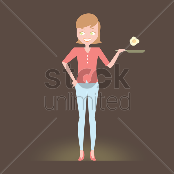 Free housewife cooking breakfast vector graphic