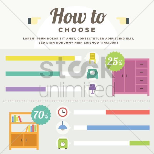 how to choose furniture vector graphic