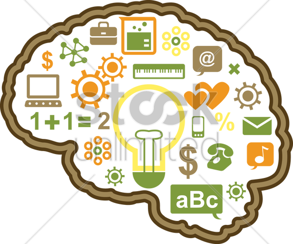 human brain technology vector graphic