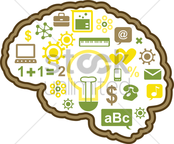 Free human brain technology vector graphic