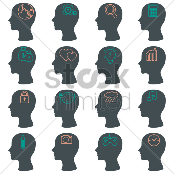 human head silhouette icons vector graphic