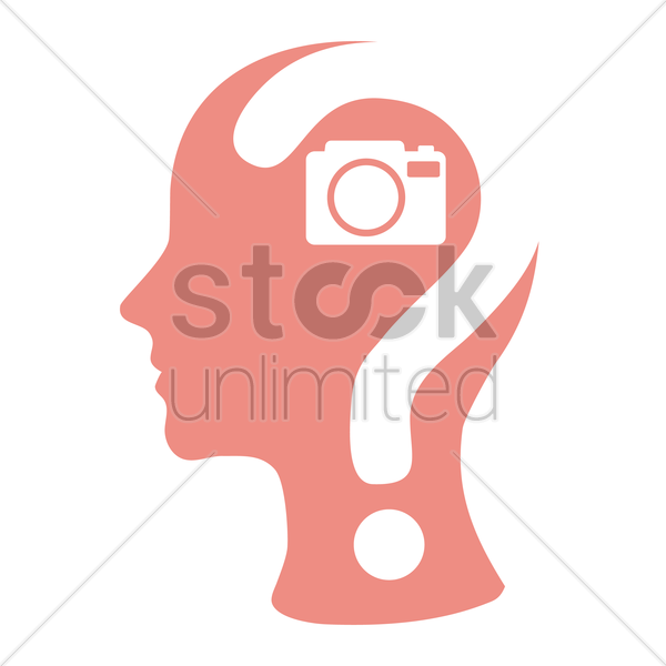human head with question mark and a camera vector graphic