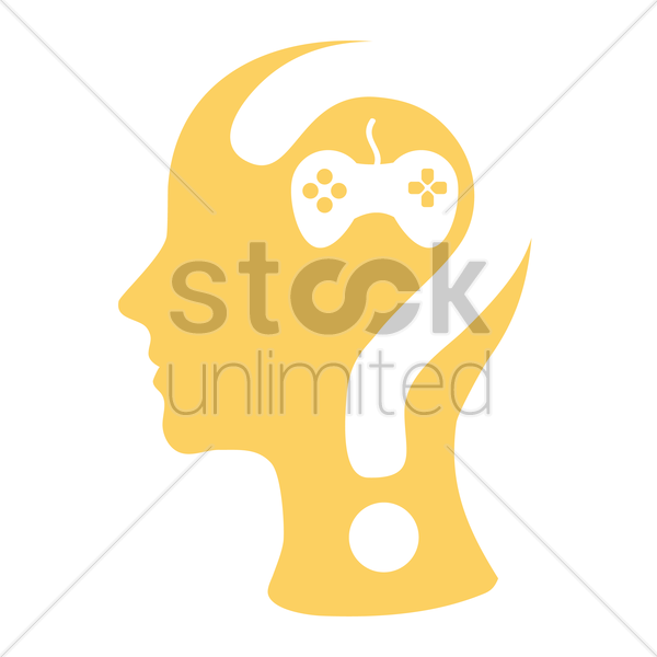human head with question mark and a joystick vector graphic
