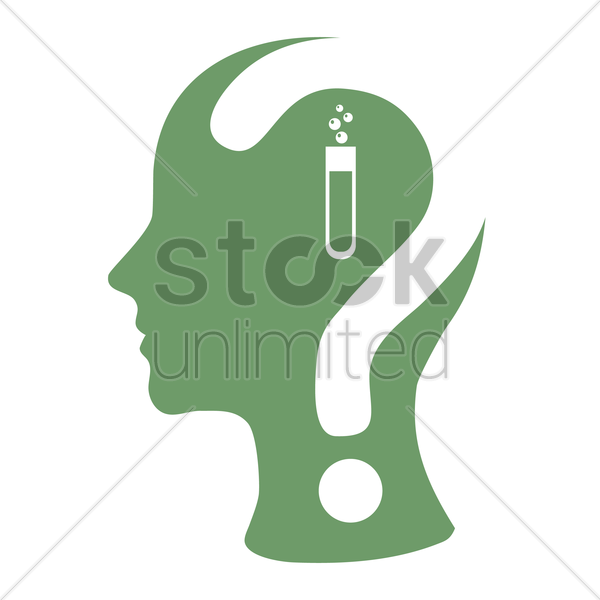 human head with question mark and a test-tube vector graphic
