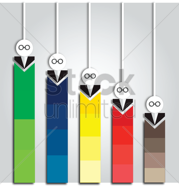 human representation of bar graphs vector graphic