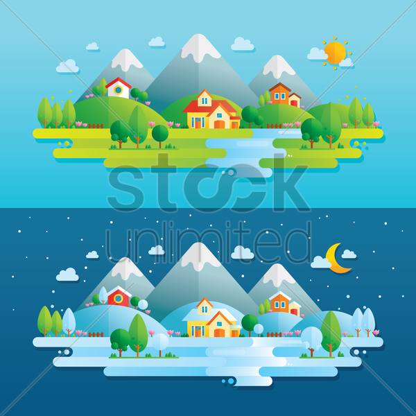 human settlement in natural surroundings vector graphic
