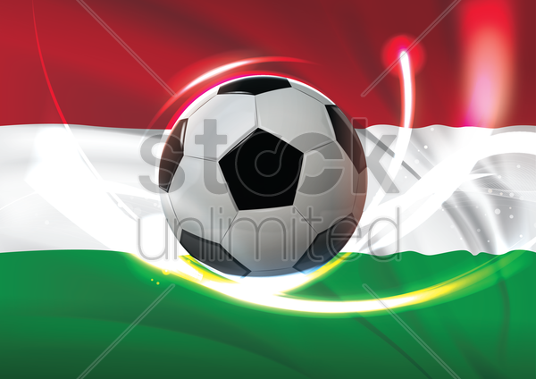 hungary flag with soccer ball vector graphic