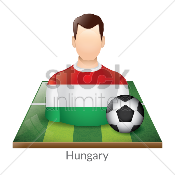 hungary player with soccer ball on field vector graphic