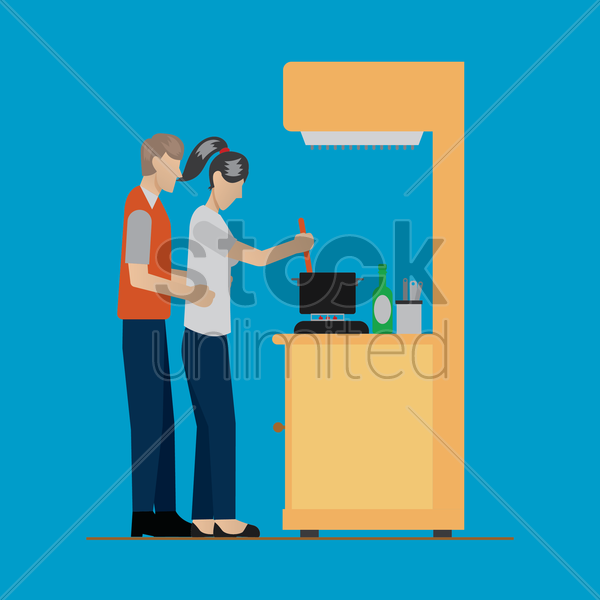 husband and wife cooking vector graphic