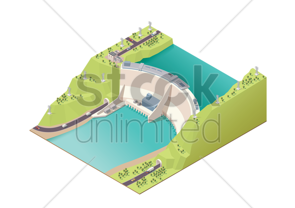 hydroelectric power station vector graphic
