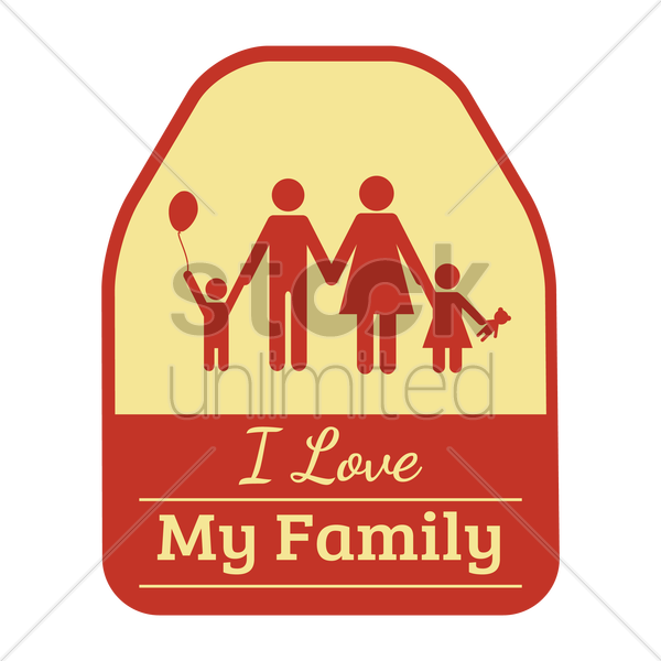 i love my family sticker vector graphic