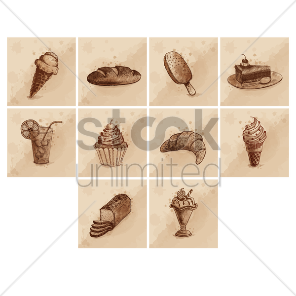 ice cream and sweet food icon set vector graphic