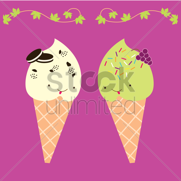 Free ice cream characters vector graphic