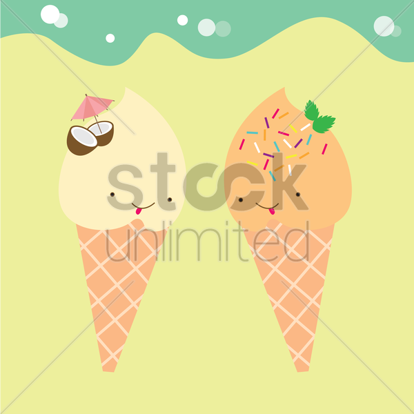 ice cream characters vector graphic