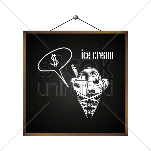 ice cream with dollar sign in speech bubble vector graphic