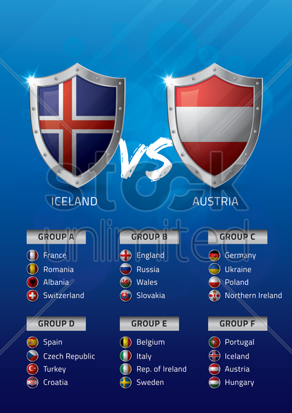 iceland vs austria vector graphic