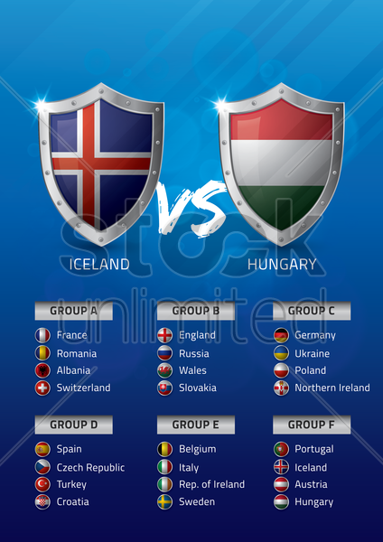 iceland vs hungary vector graphic
