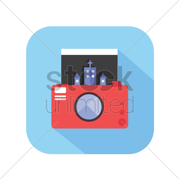 icon of a digital camera with a photograph vector graphic