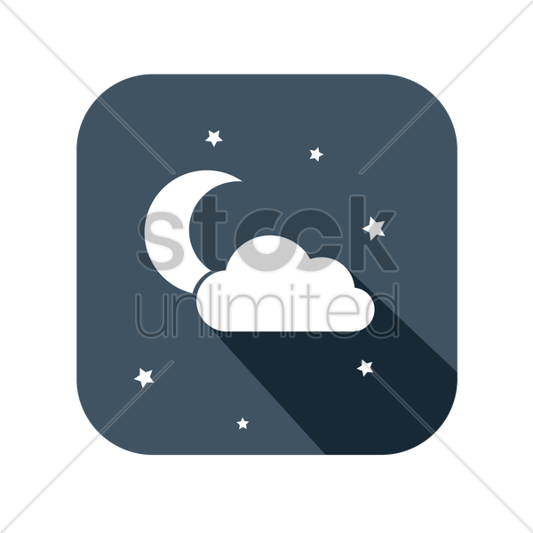 icon of a night sky vector graphic