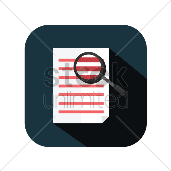 icon of a paper with magnifying glass vector graphic