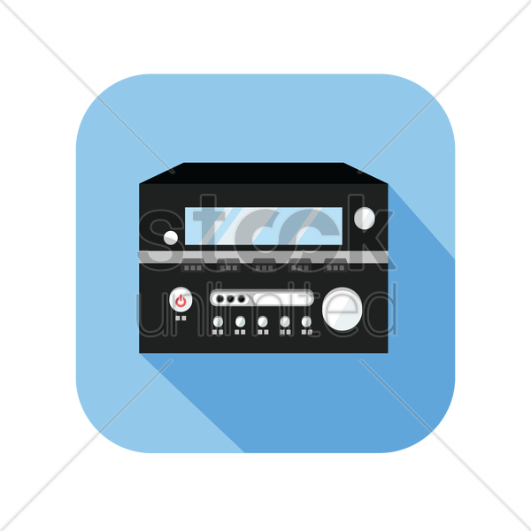 icon of a vintage stereo cassette tape deck recorder vector graphic