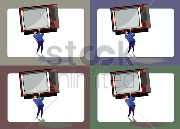 Free icon of man lifting a television vector graphic