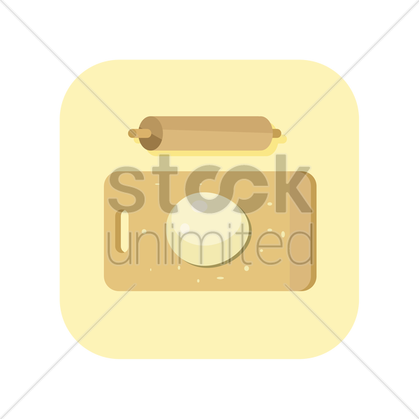 icon of wooden board with rolling pin vector graphic