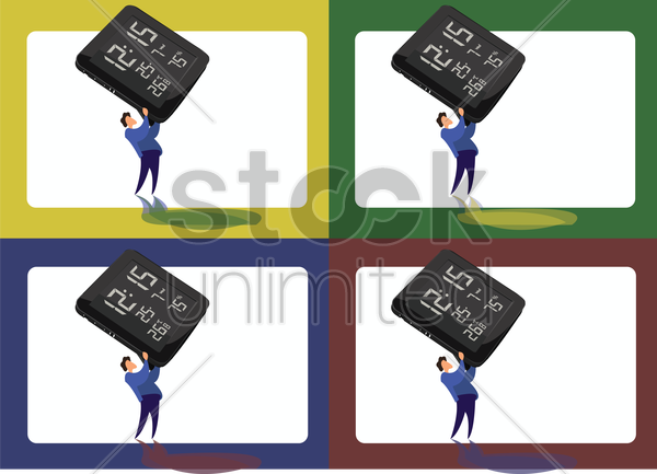 icons of man lifting a digital clock vector graphic