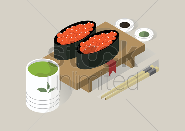 ikura sushi with sauces vector graphic
