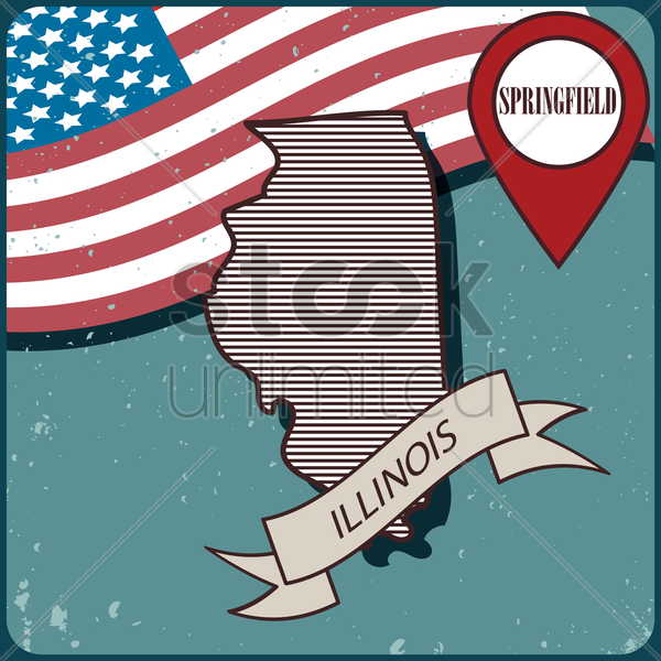 illinois map label vector graphic