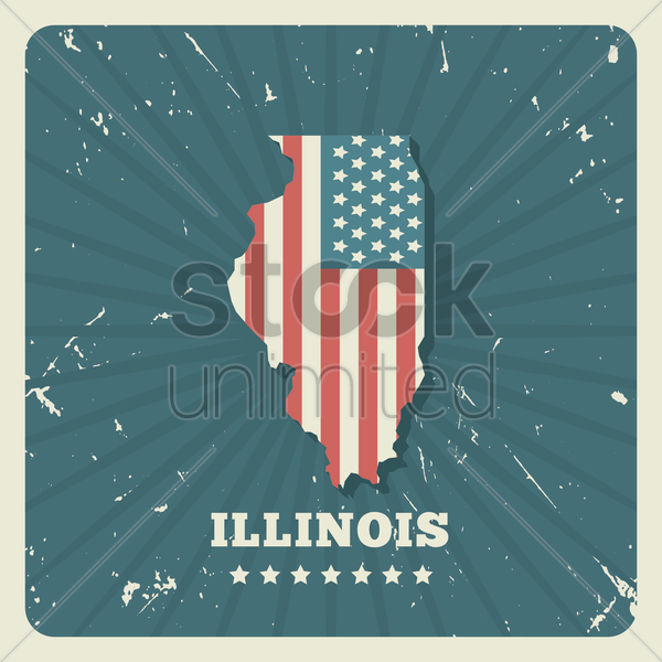 illinois map vector graphic