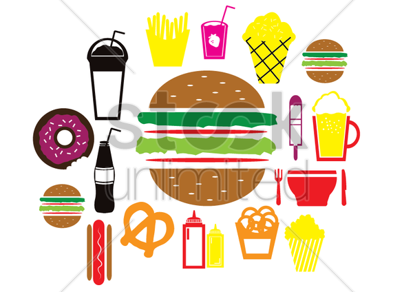 illustrations of fast food vector graphic