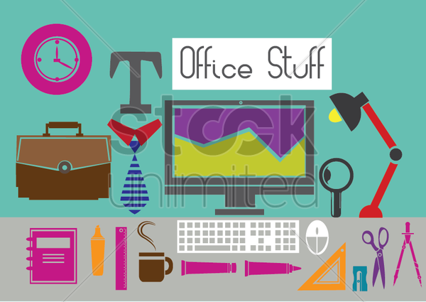 Free illustrations of office items vector graphic