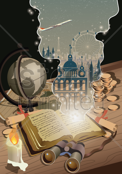 imaginations from a book vector graphic