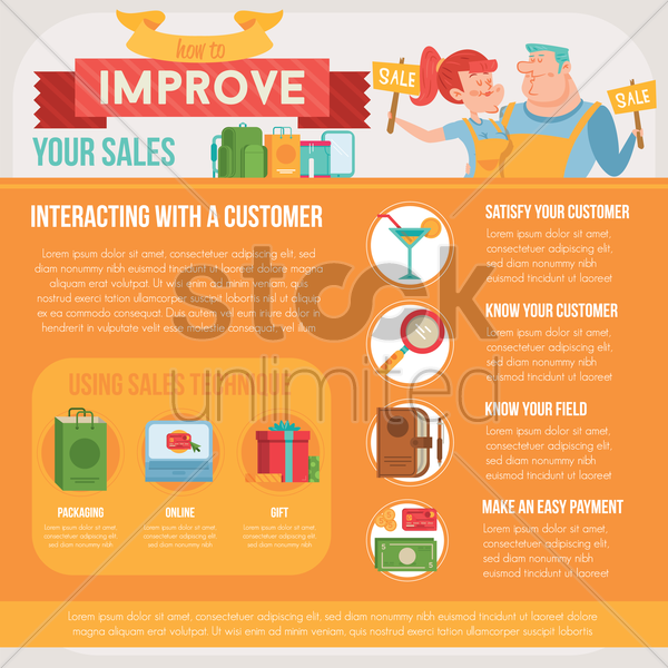improve your sales infographic vector graphic