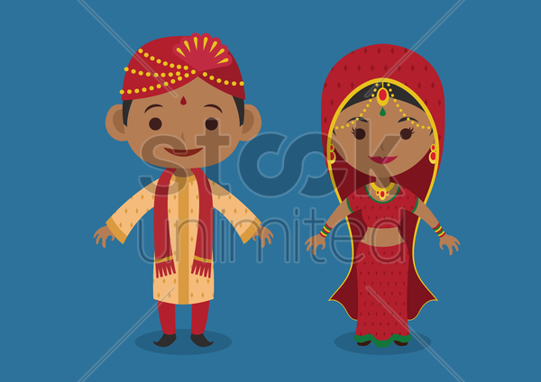indian bride and groom vector graphic