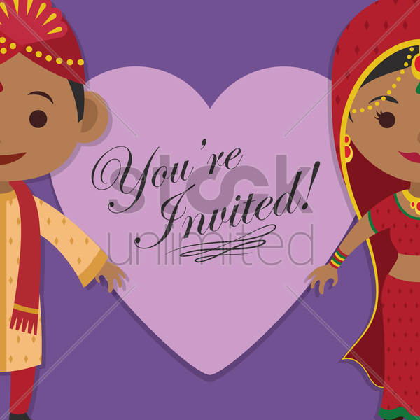 indian wedding invitation vector graphic