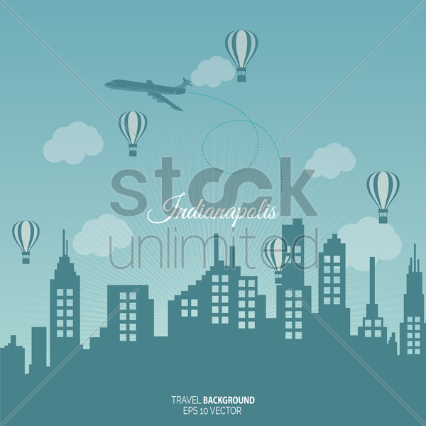 indianapolis travel background vector graphic
