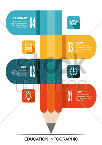 infographic design with pencil vector graphic