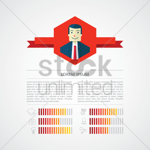 infographic of a businessman's profile vector graphic