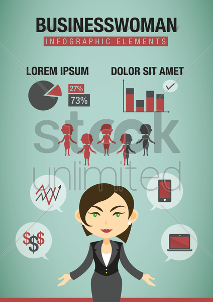 infographic of a businesswoman vector graphic