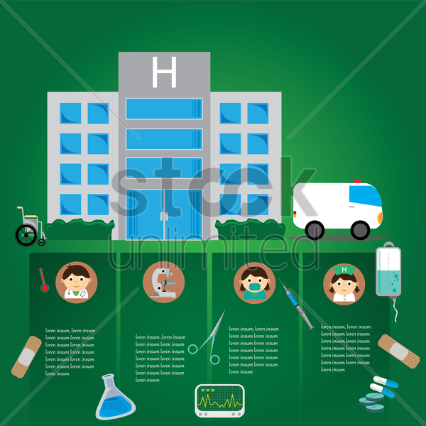 infographic of a hospital vector graphic