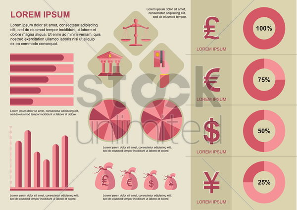 infographic of banking and finance vector graphic