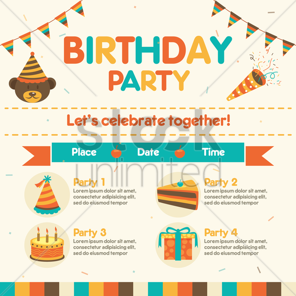 infographic of birthday party vector graphic