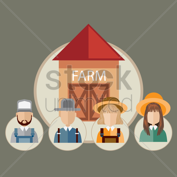 infographic of farm occupations vector graphic