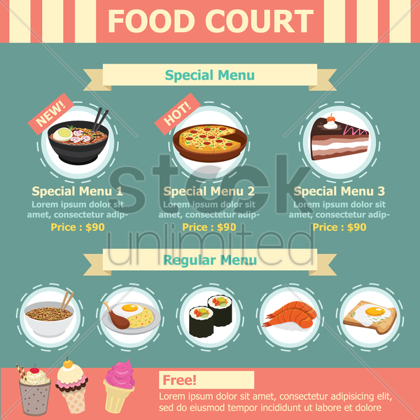 infographic of food court vector graphic