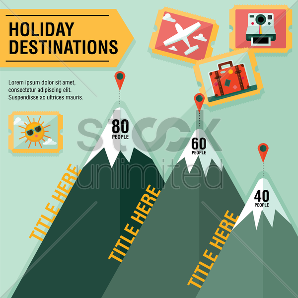 infographic of holiday destinations vector graphic
