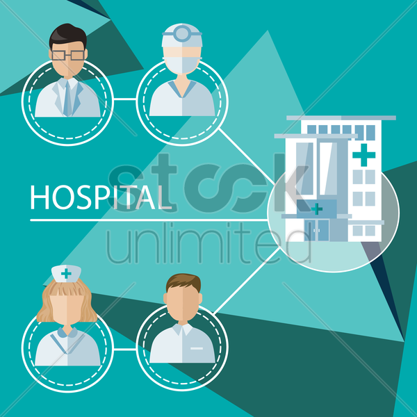 infographic of hospital occupations vector graphic