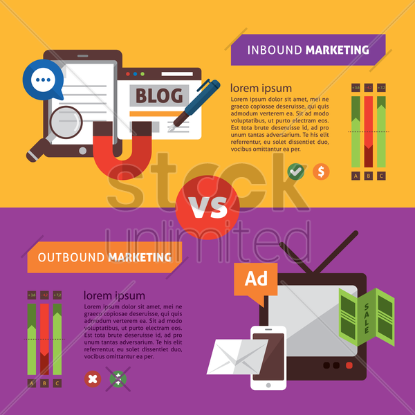 infographic of inbound marketing vector graphic